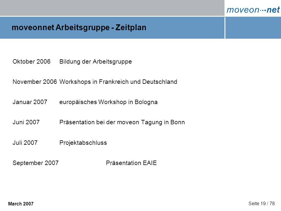 moveonnet Arbeitsgruppe - Zeitplan