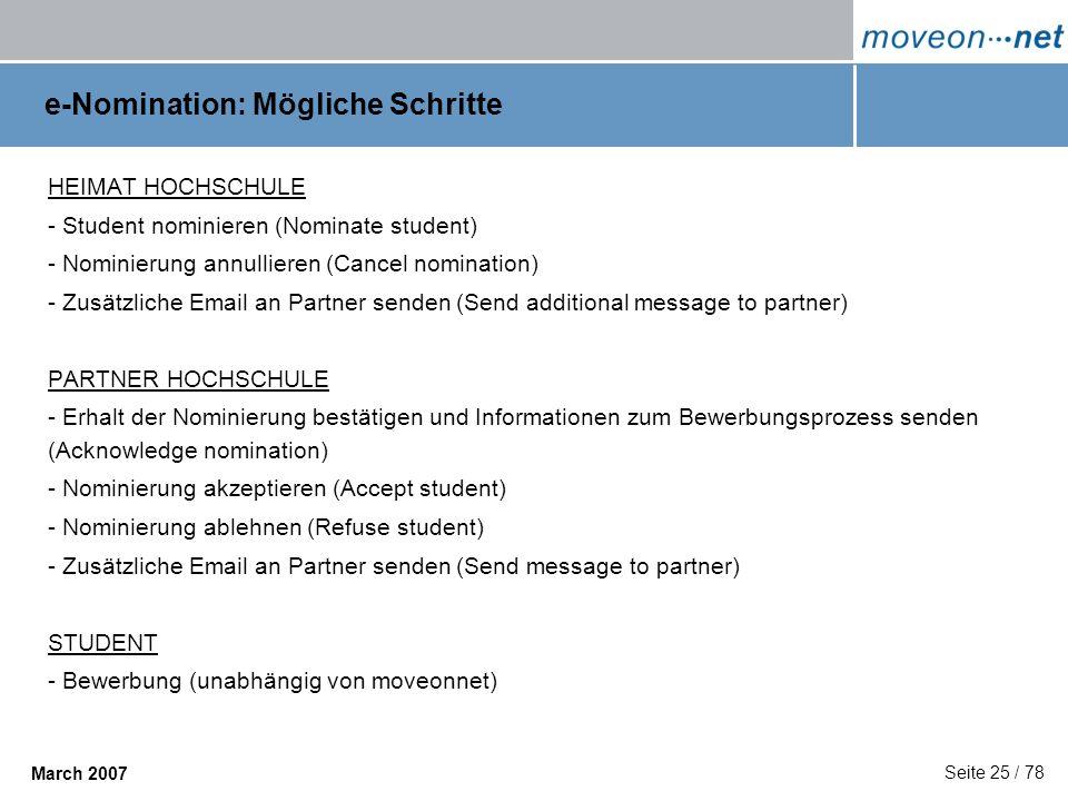 e-Nomination: Mögliche Schritte