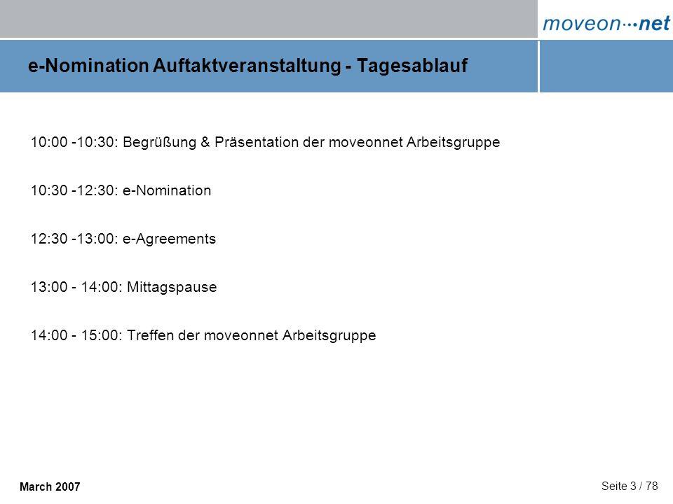 e-Nomination Auftaktveranstaltung - Tagesablauf