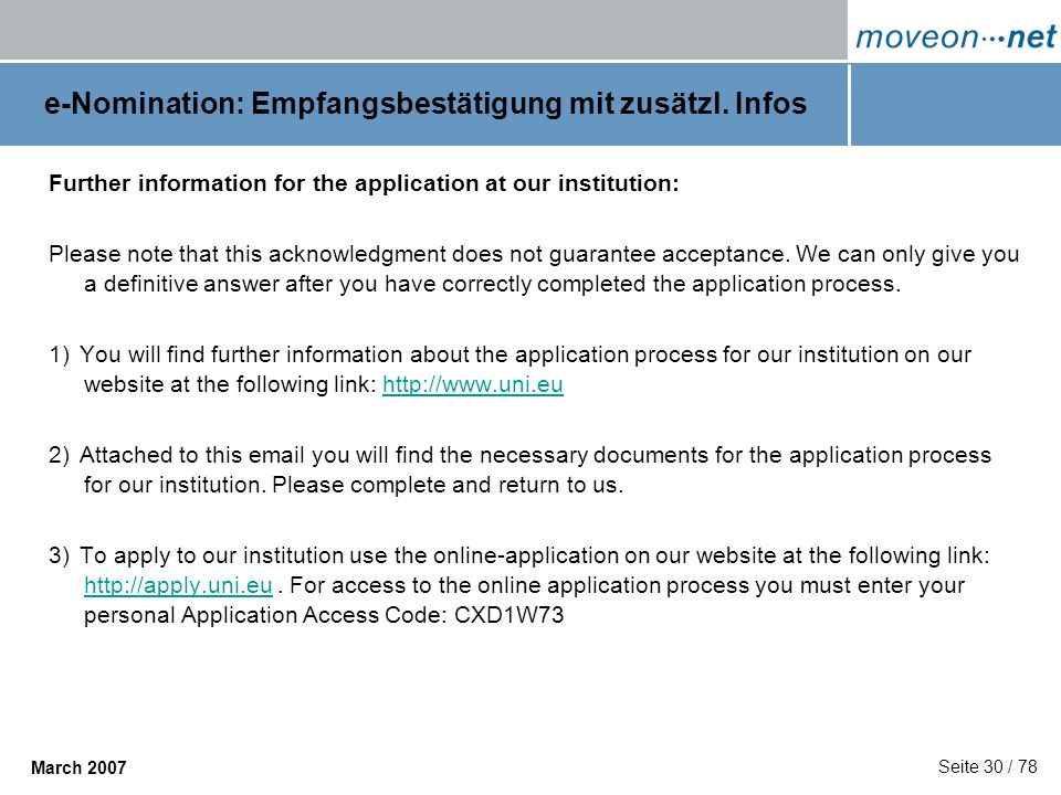 e-Nomination: Empfangsbestätigung mit zusätzl. Infos
