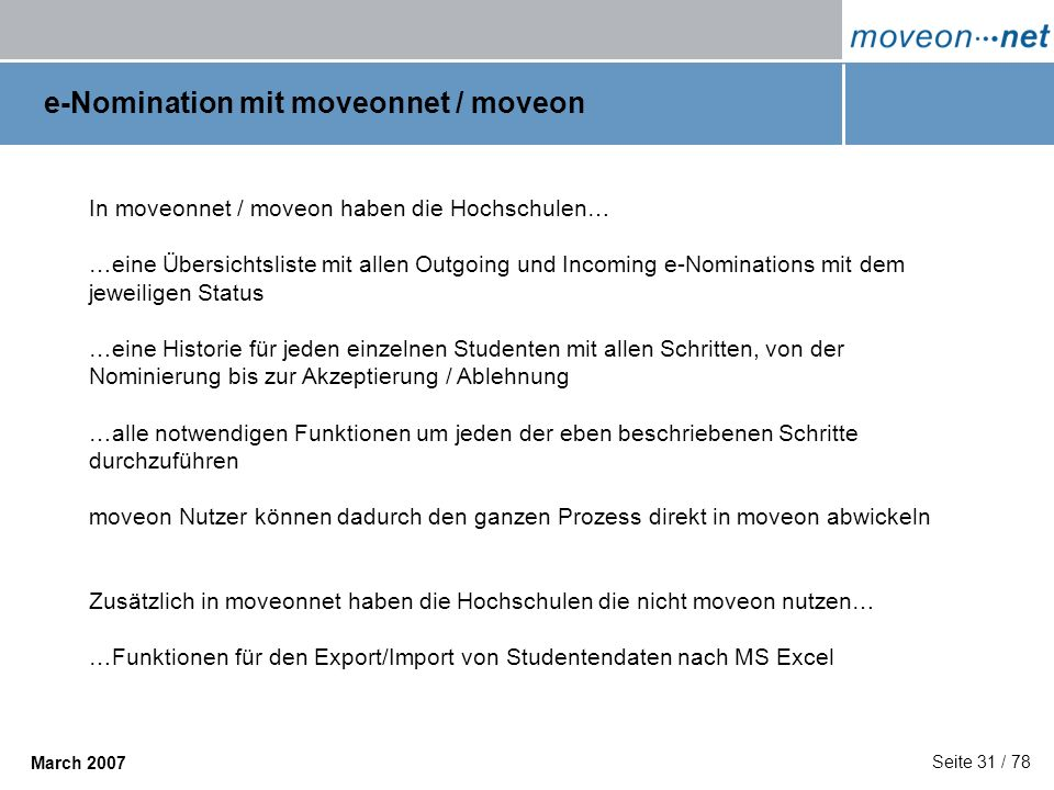 e-Nomination mit moveonnet / moveon