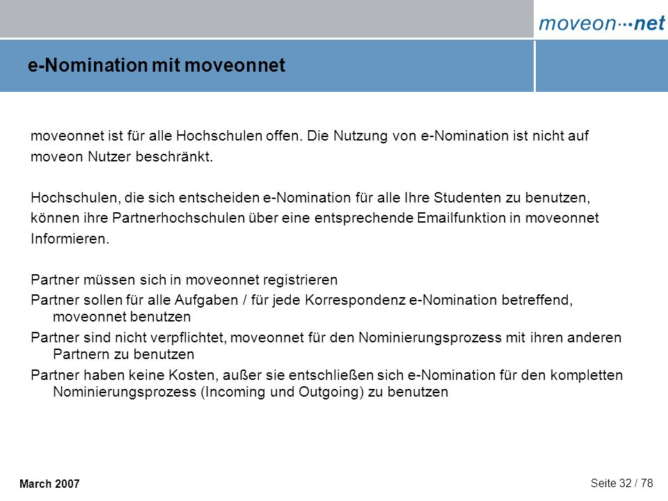 e-Nomination mit moveonnet