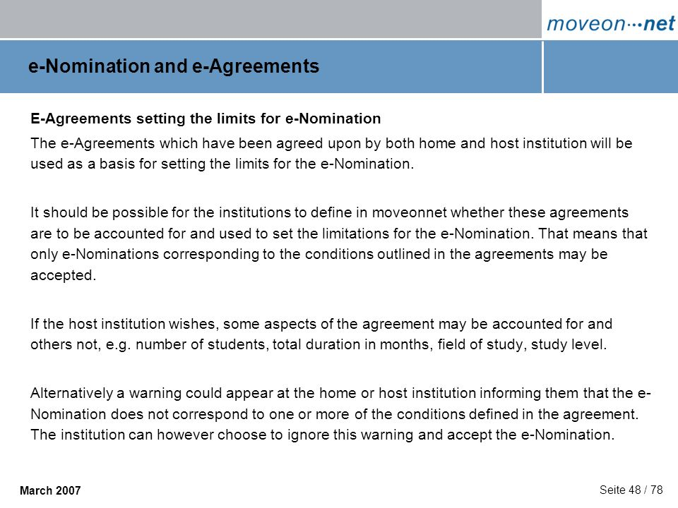 e-Nomination and e-Agreements