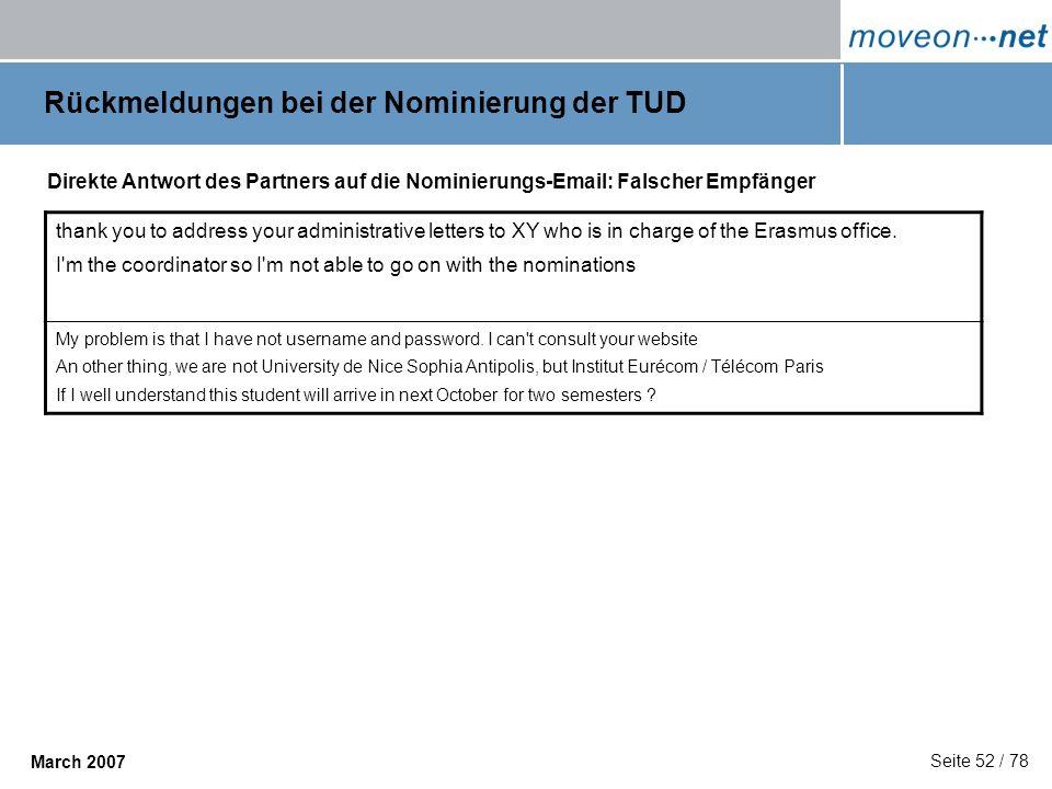 Rückmeldungen bei der Nominierung der TUD