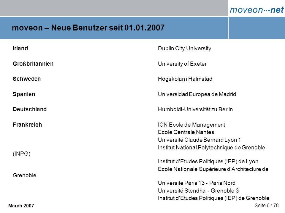 moveon – Neue Benutzer seit 01.01.2007