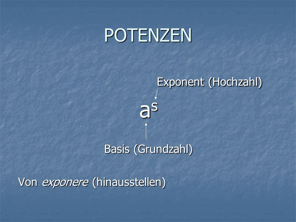 Exponent (Hochzahl) as POTENZEN Basis (Grundzahl)