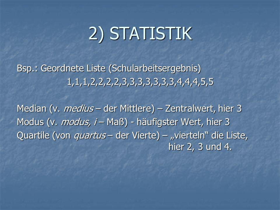 2) STATISTIK Bsp.: Geordnete Liste (Schularbeitsergebnis)