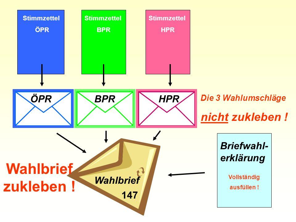 Wahlbriefzukleben ! nicht zukleben ! ÖPR BPR HPR Briefwahl-erklärung