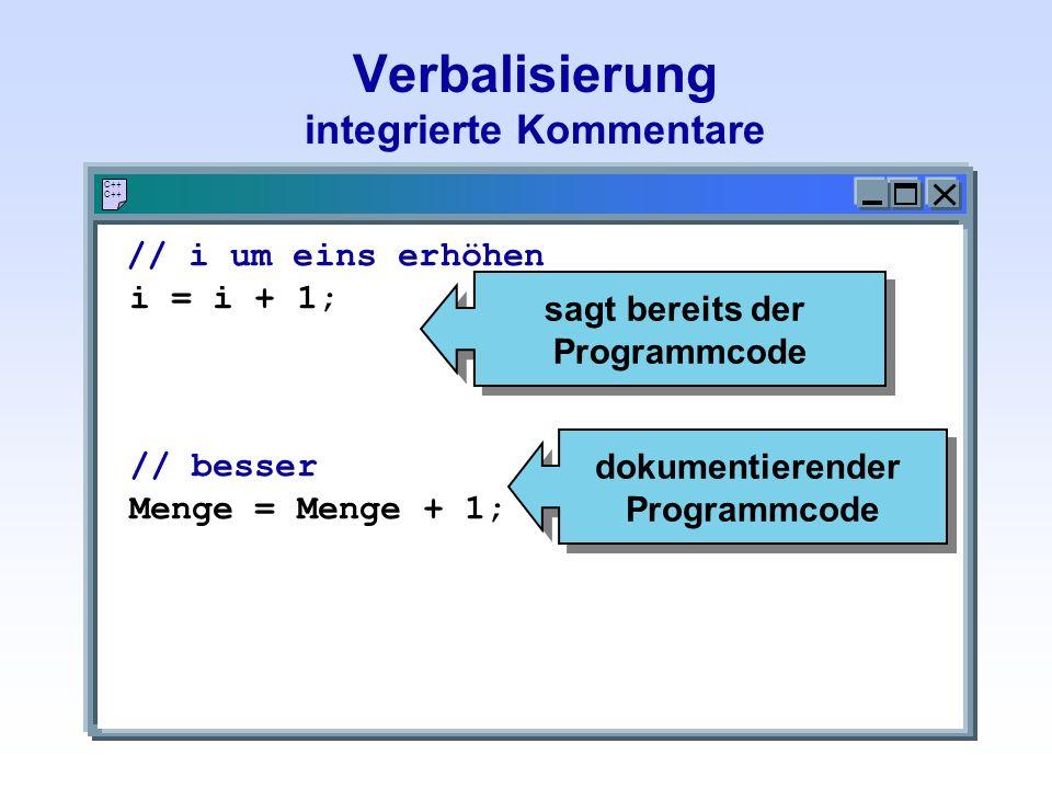 Verbalisierung integrierte Kommentare