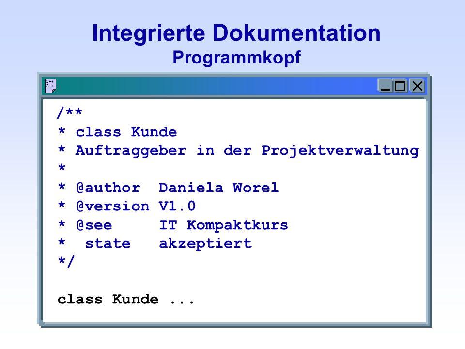 Integrierte Dokumentation Programmkopf