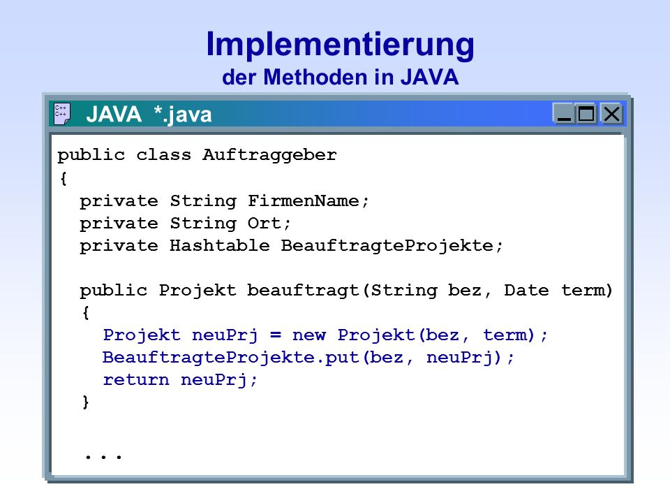Implementierung der Methoden in JAVA