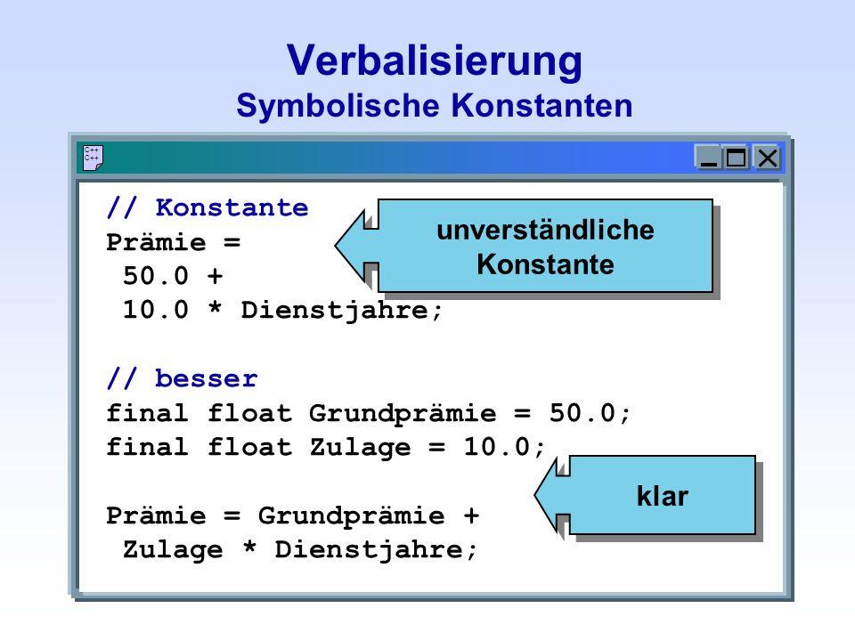 Verbalisierung Symbolische Konstanten