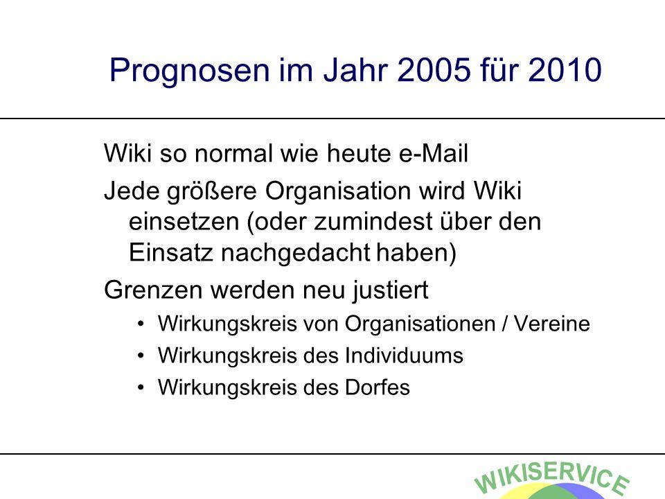 Prognosen im Jahr 2005 für 2010 Wiki so normal wie heute e-Mail