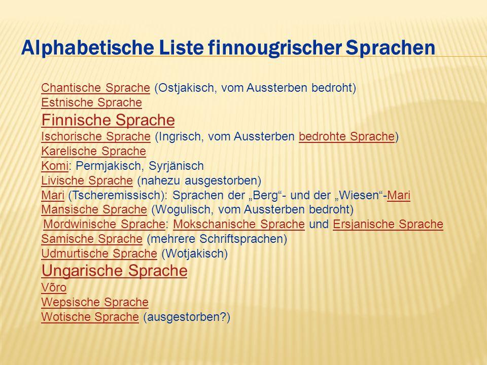Alphabetische Liste finnougrischer Sprachen