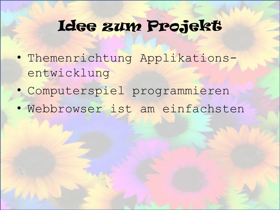 Idee zum Projekt Themenrichtung Applikations-entwicklung