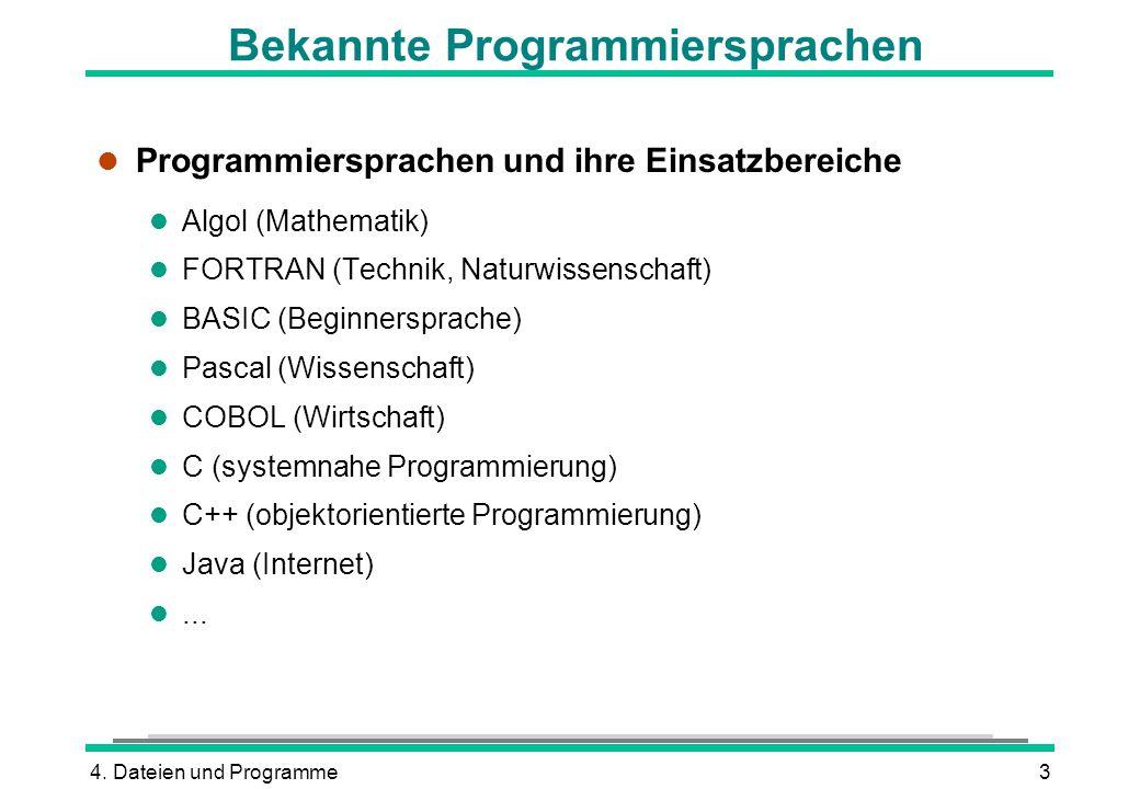 Bekannte Programmiersprachen