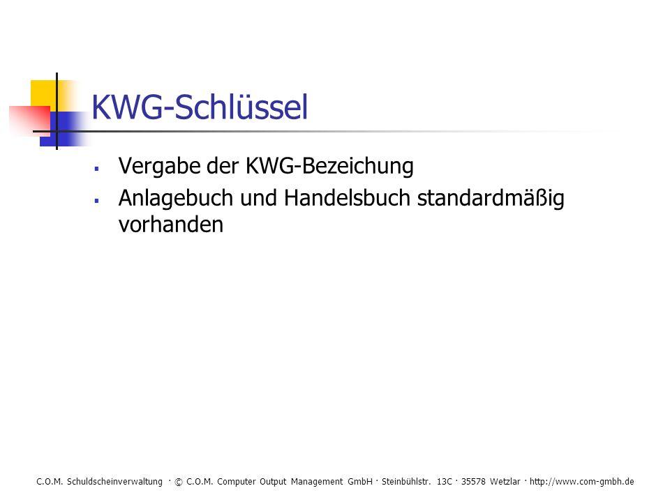KWG-Schlüssel Vergabe der KWG-Bezeichung
