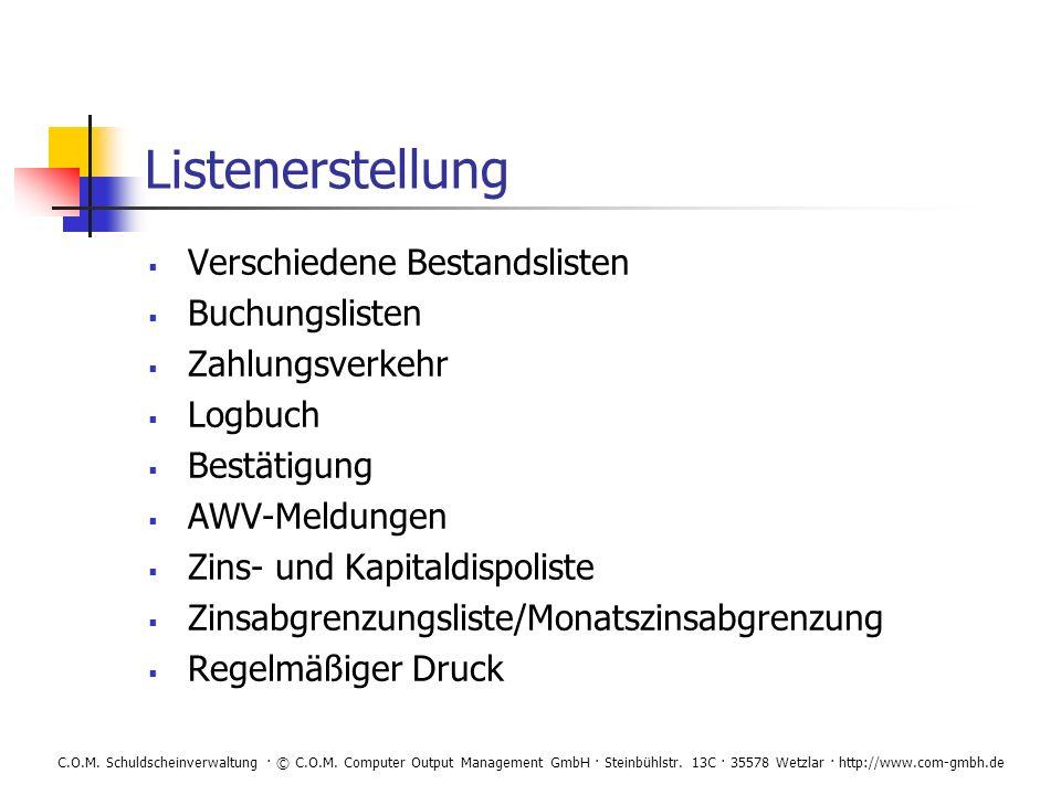 Listenerstellung Verschiedene Bestandslisten Buchungslisten