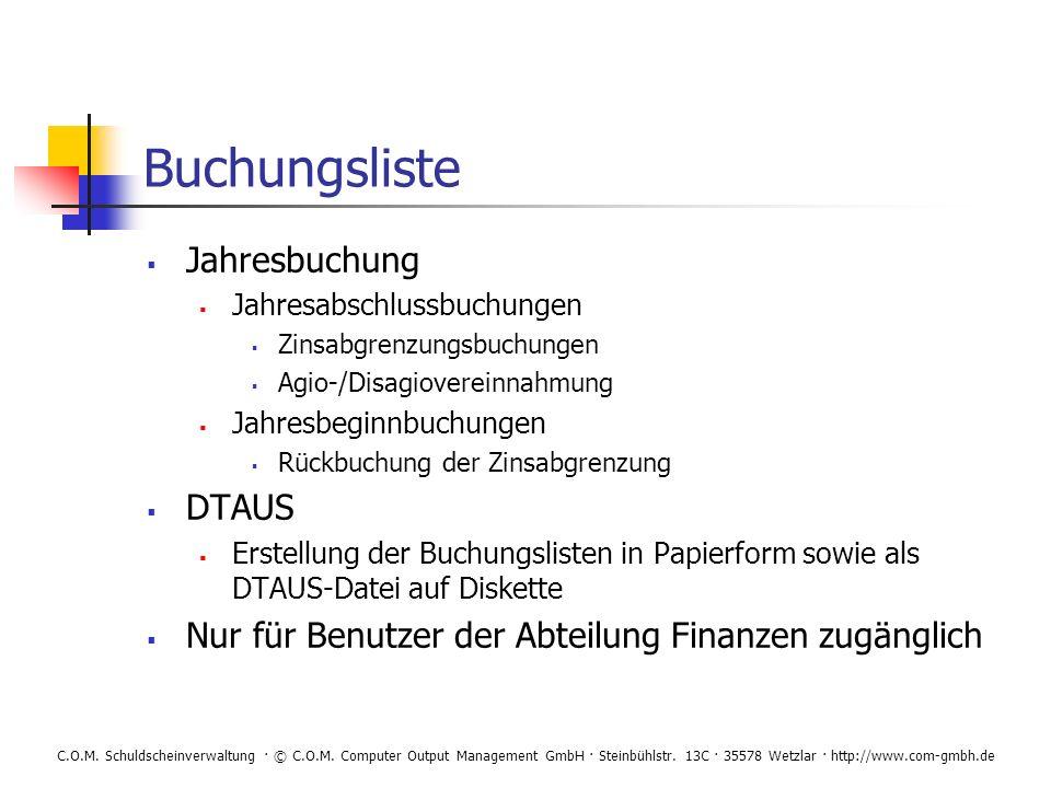 Buchungsliste Jahresbuchung DTAUS