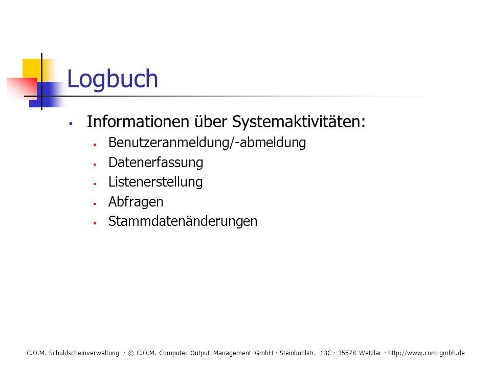 Logbuch Informationen über Systemaktivitäten: