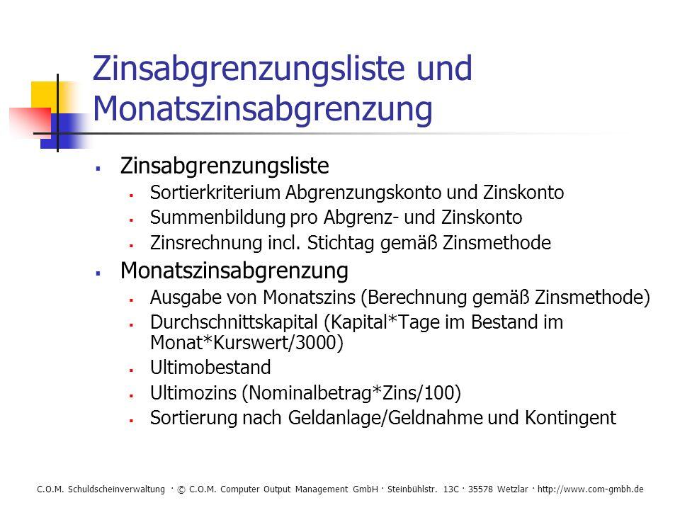 Zinsabgrenzungsliste und Monatszinsabgrenzung