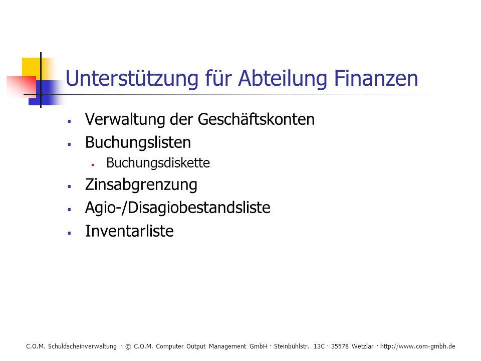 Unterstützung für Abteilung Finanzen