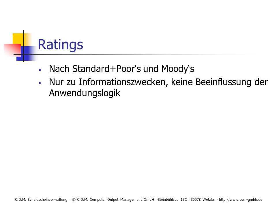 Ratings Nach Standard+Poor's und Moody's