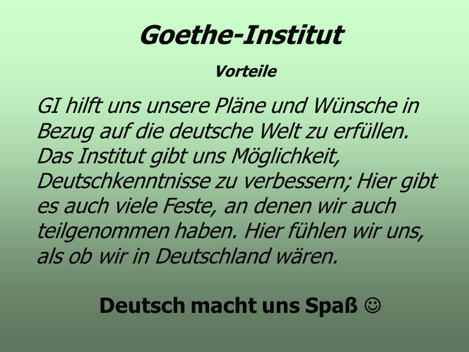 Deutsch macht uns Spaß 