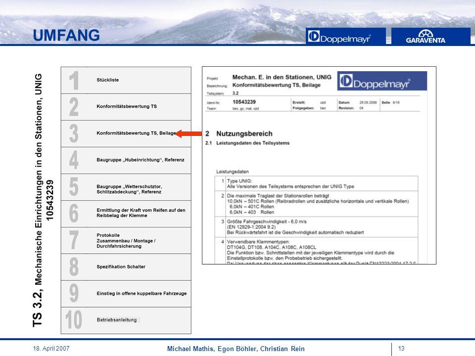 UMFANG Ziel der Beilage ist es, den Nutzungsbereich und die notwendigen Einsatzbedingungen für das jeweilige Teilsystem festzulegen.