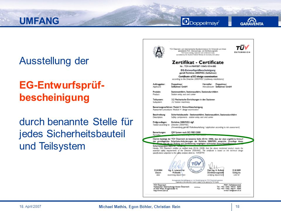 UMFANG Ausstellung der EG-Entwurfsprüf- bescheinigung durch benannte Stelle für jedes Sicherheitsbauteil und Teilsystem.