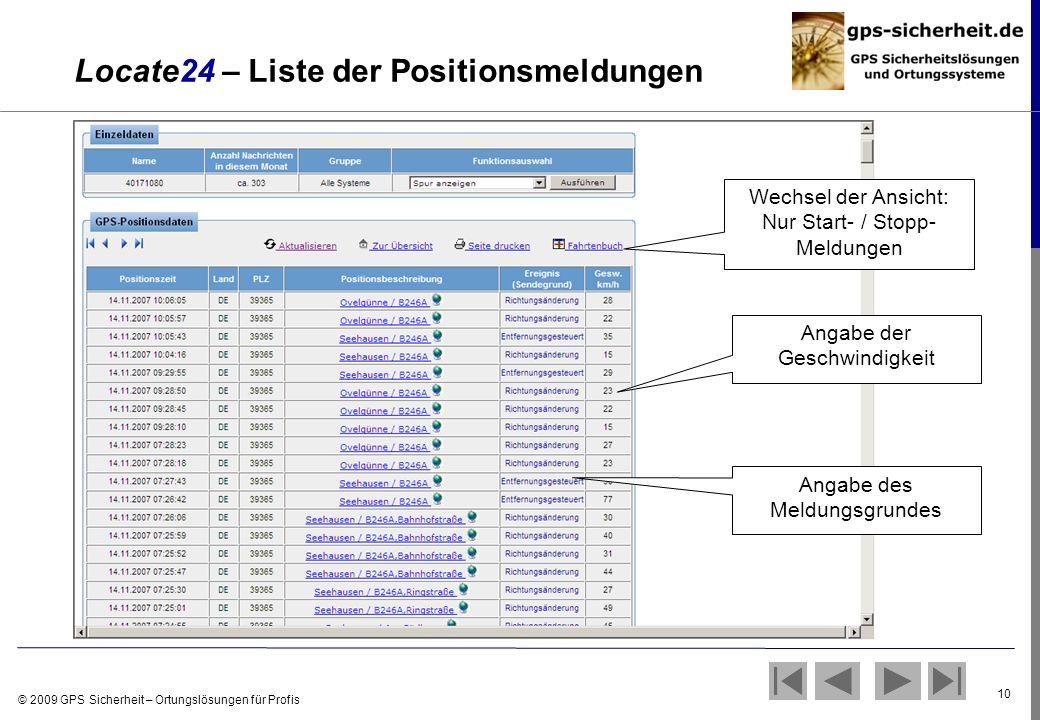 Locate24 – Liste der Positionsmeldungen