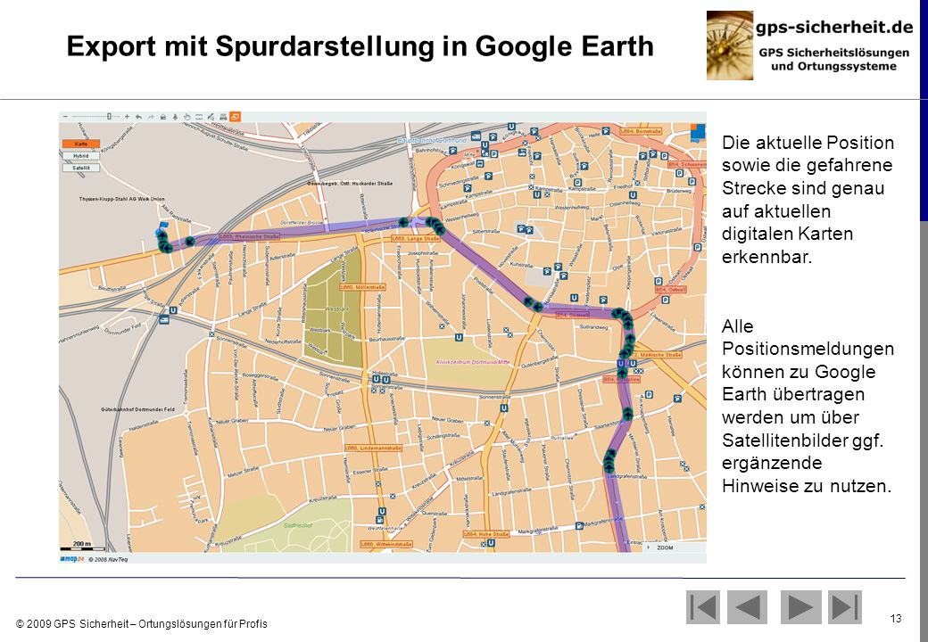 Export mit Spurdarstellung in Google Earth