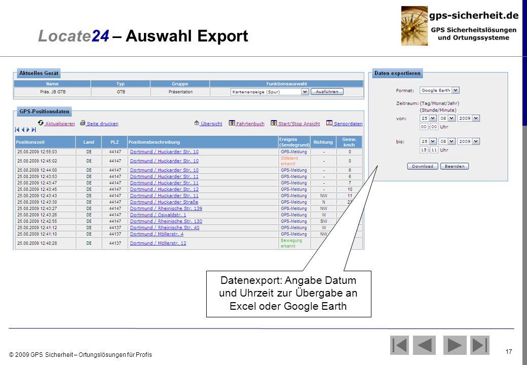 Locate24 – Auswahl Export