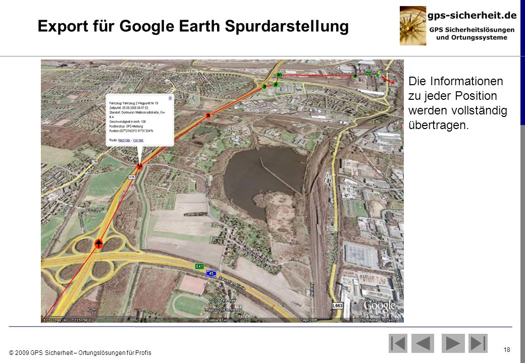 Export für Google Earth Spurdarstellung