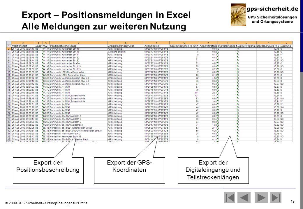 Export – Positionsmeldungen in Excel Alle Meldungen zur weiteren Nutzung