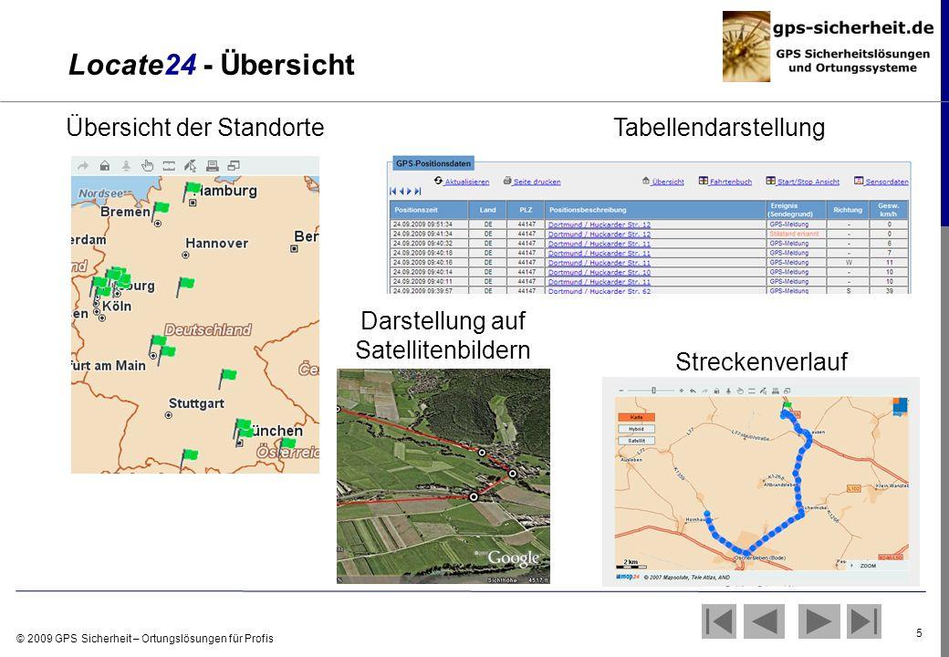 Locate24 - Übersicht Übersicht der Standorte Tabellendarstellung