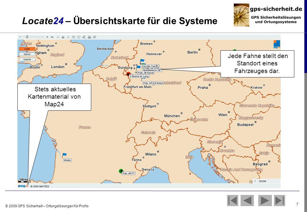 Locate24 – Übersichtskarte für die Systeme