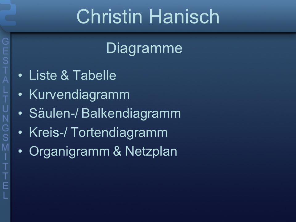Christin Hanisch Diagramme Liste & Tabelle Kurvendiagramm