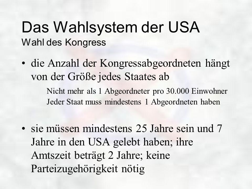 Das Wahlsystem der USA Wahl des Kongress
