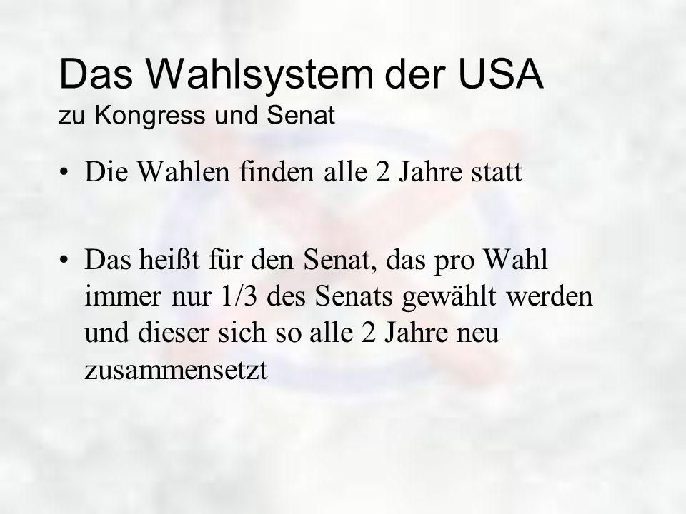 Das Wahlsystem der USA zu Kongress und Senat