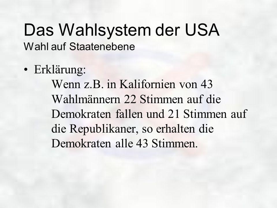 Das Wahlsystem der USA Wahl auf Staatenebene