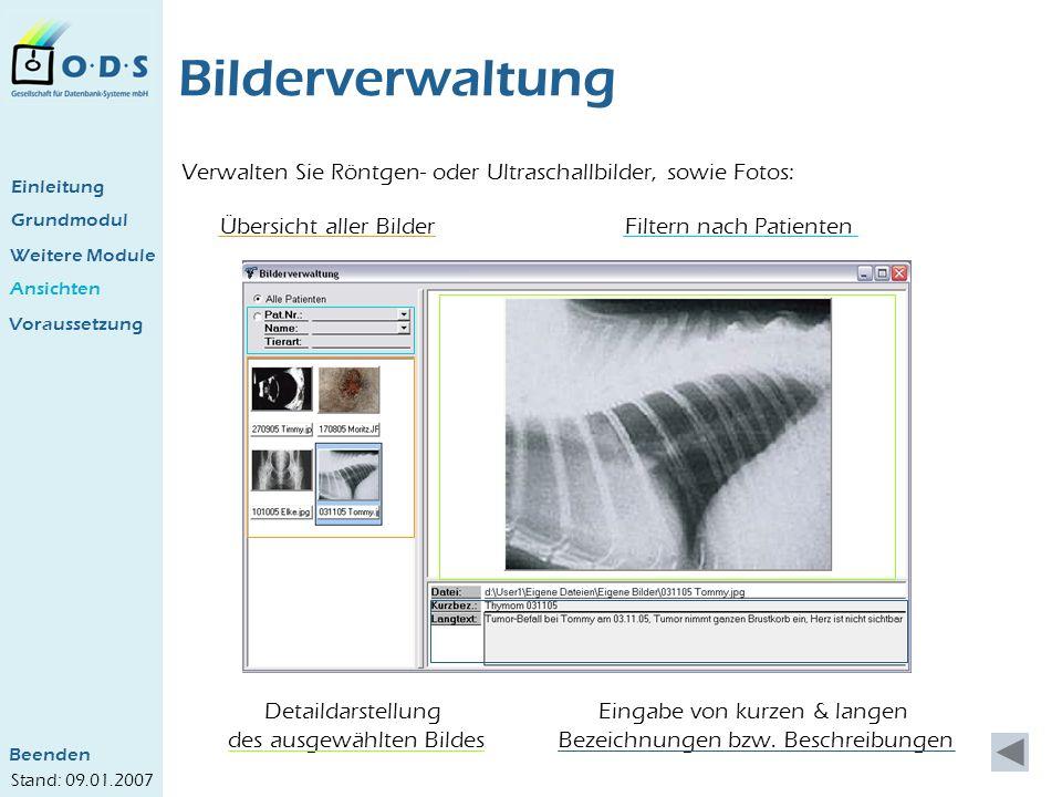 Bilderverwaltung Verwalten Sie Röntgen- oder Ultraschallbilder, sowie Fotos: Einleitung. Grundmodul.