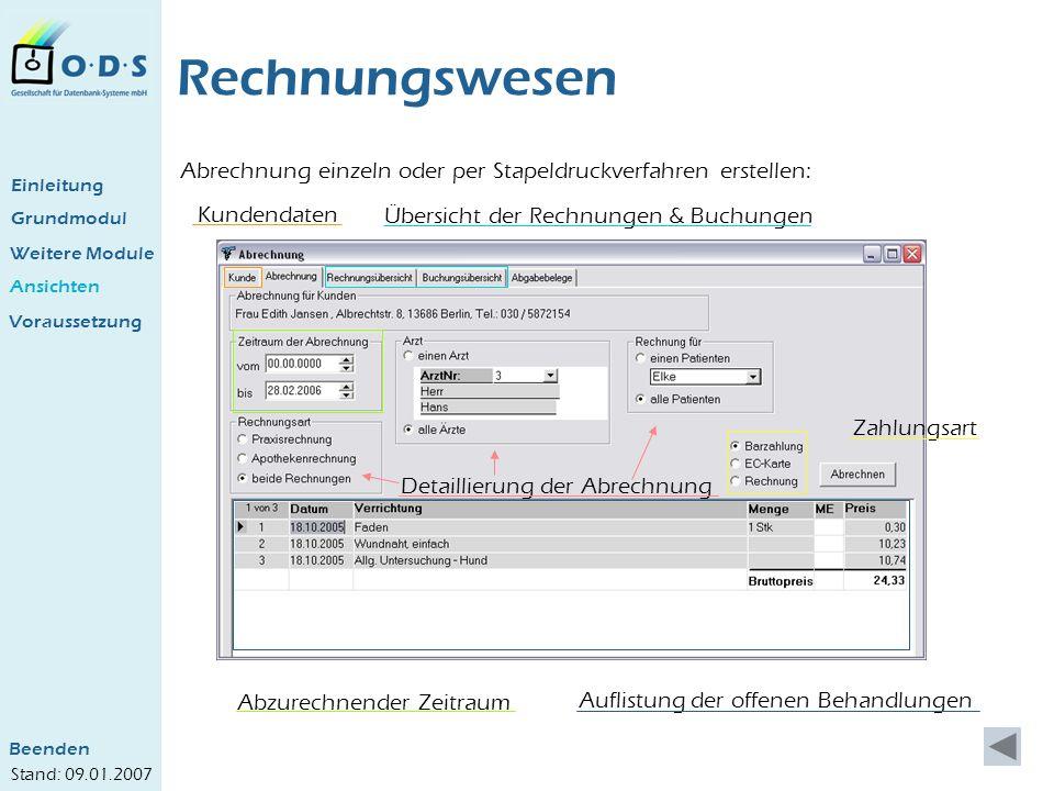 Rechnungswesen Abrechnung einzeln oder per Stapeldruckverfahren erstellen: Einleitung. Kundendaten.