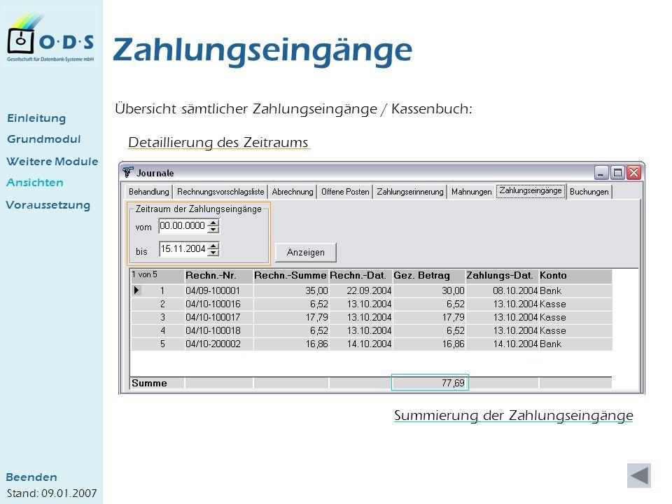 Zahlungseingänge Übersicht sämtlicher Zahlungseingänge / Kassenbuch: