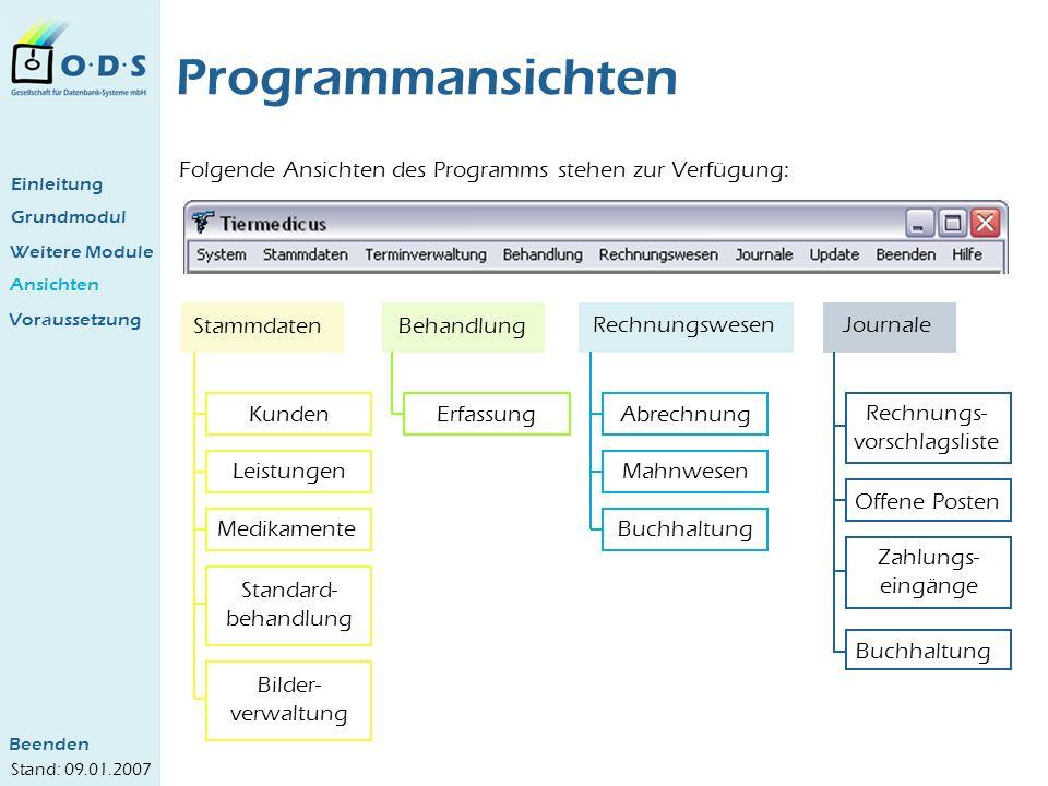 Programmansichten Folgende Ansichten des Programms stehen zur Verfügung: Einleitung. Grundmodul. Weitere Module.