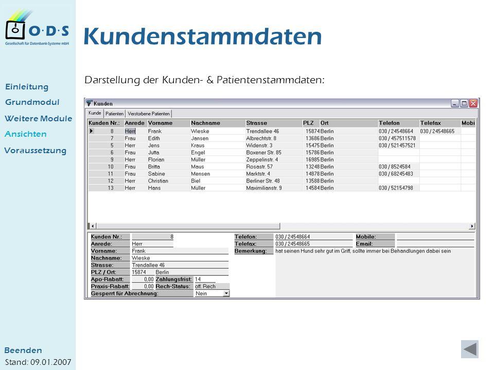 Kundenstammdaten Darstellung der Kunden- & Patientenstammdaten: