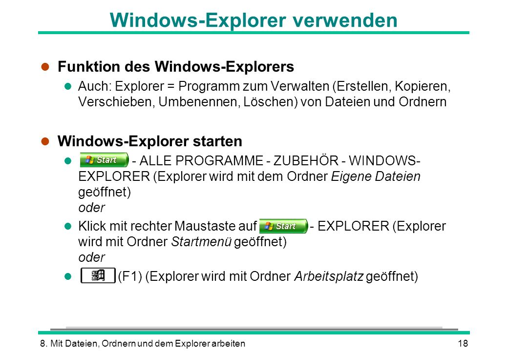 Windows-Explorer verwenden