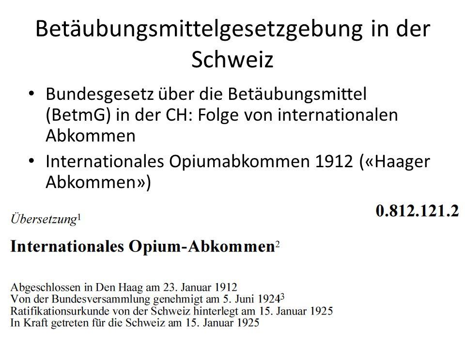 Betäubungsmittelgesetzgebung in der Schweiz