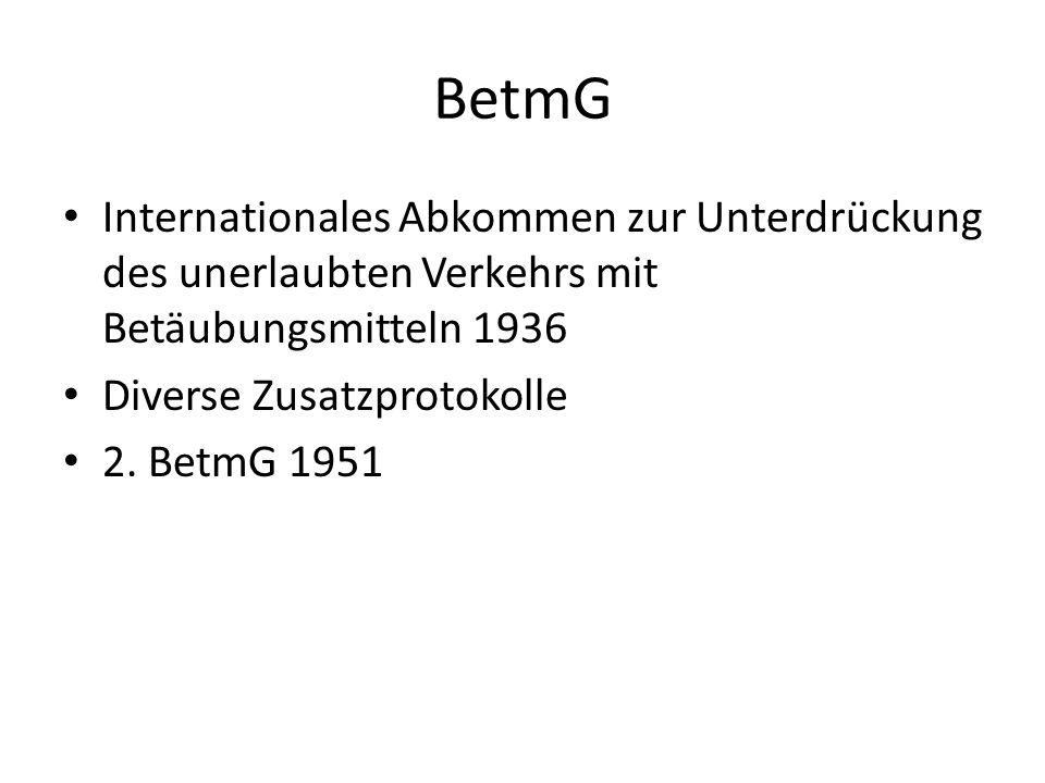 BetmGInternationales Abkommen zur Unterdrückung des unerlaubten Verkehrs mit Betäubungsmitteln 1936.