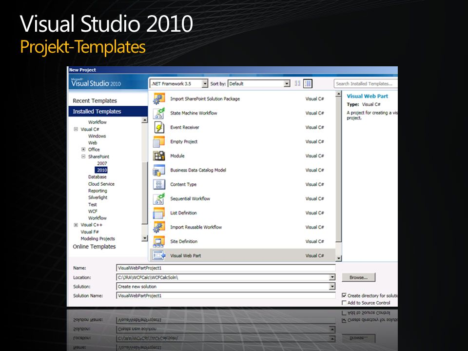 Visual Studio 2010 Projekt-Templates